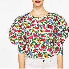Zara blouse with puffed sleeves